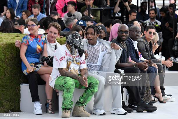 Bari ASAP Rocky and Virgil Abloh during the Dior Homme Menswear Spring/Summer 2019 fashion show as part of Paris Fashion Week on June 23 2018 in...