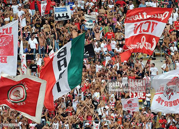 Bari fans show their support during the Serie A match between Bari and Cagliari at Stadio San Nicola on September 19 2010 in Bari Italy