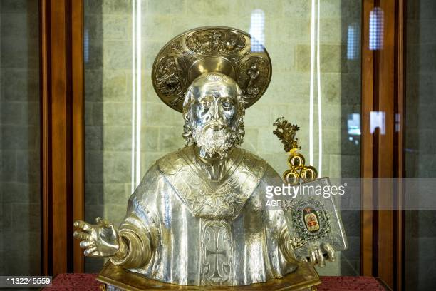 Bari. Italy. Old town. The silver bust of the Saint in the chapel of the relics in the St Nicholas Basilica.