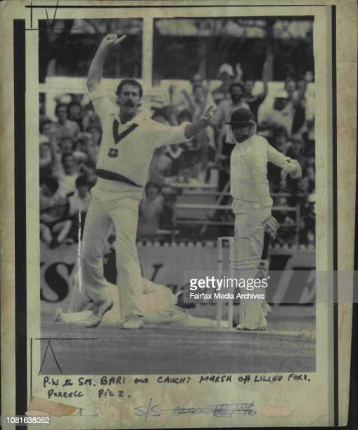 Bari out caught Marsh off Lillee for 1 November 14 1981 Photo by