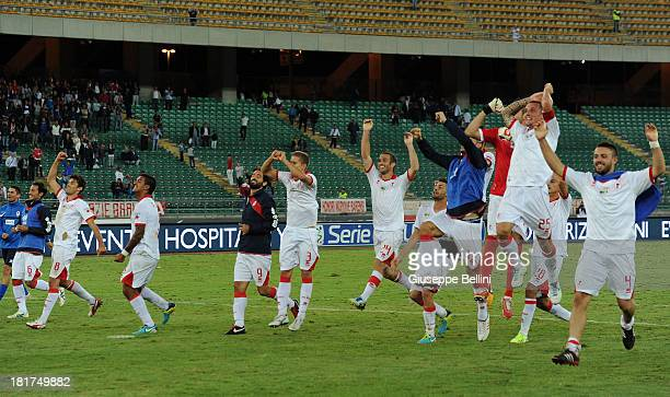 Bari players celebrates their victory after the Serie B match between AS Bari and US Citta di Palermo at Stadio San Nicola on September 24 2013 in...