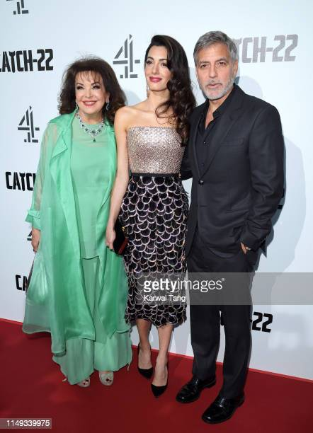Baria Alamuddin Amal Clooney and George Clooney attend the Catch 22 UK premiere at the Vue Westfield on May 15 2019 in London United Kingdom