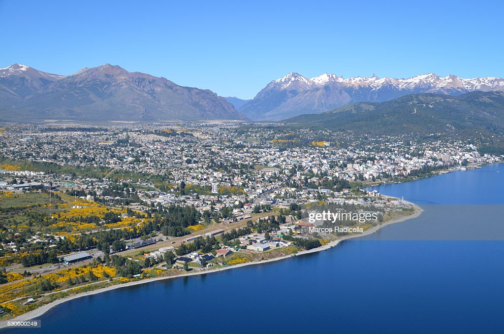 Bariloche aerial city view, Patagonia Argentina : Stock Photo