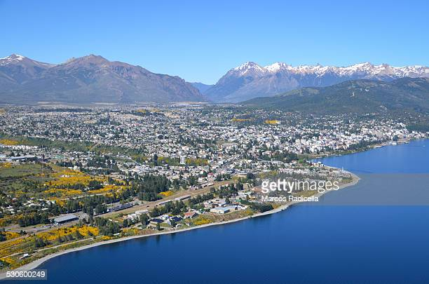 bariloche aerial city view, patagonia argentina - radicella stock pictures, royalty-free photos & images