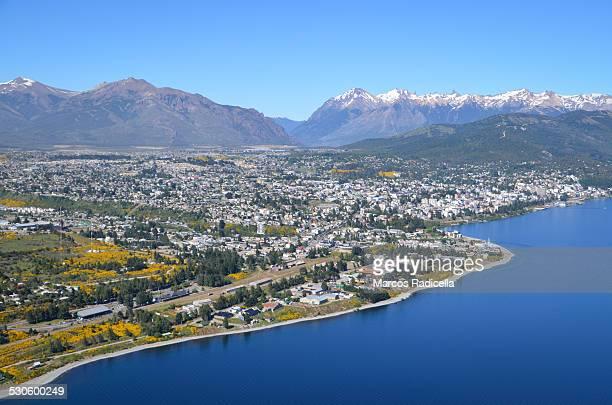 bariloche aerial city view, patagonia argentina - radicella stockfoto's en -beelden