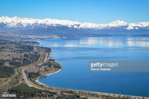 bariloche aerial view in winter - radicella stock photos and pictures