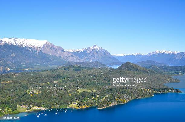 bariloche, aerial view - radicella stock pictures, royalty-free photos & images