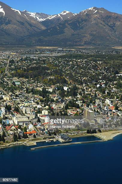 bariloche air view centro civico - radicella stock pictures, royalty-free photos & images