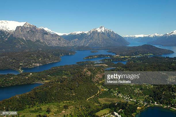 bariloche air view patagonia - radicella stock pictures, royalty-free photos & images