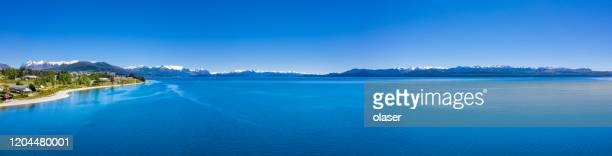bariloche and its spectacular view over lake and andes, panorama. argentina - bariloche stock pictures, royalty-free photos & images