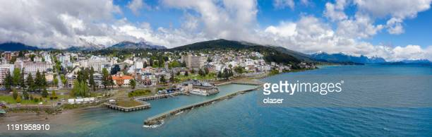bariloche city panorama. port, argentina - bariloche stock pictures, royalty-free photos & images