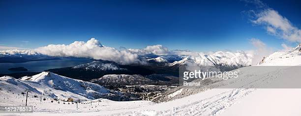 bariloche, winter panorama - bariloche stock pictures, royalty-free photos & images
