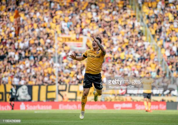 Baris Atik of Dresden celebrates after his team's third goal during the Second Bundesliga match between SG Dynamo Dresden and SC Paderborn 07 at...