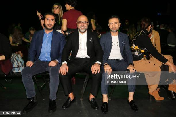 Baris Eraslan Nejdet Ayaydin and Mithat Samsama attend the MercedesBenz Fashion Week Istanbul March 2019 at Zorlu Center on March 20 2019 in Istanbul...
