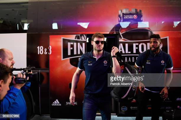 Baris Hersek #5 of Fenerbahce Dogus Istanbul during the Fenerbahce Dogus Istanbul Arrival to participate of 2018 Turkish Airlines EuroLeague F4 at...