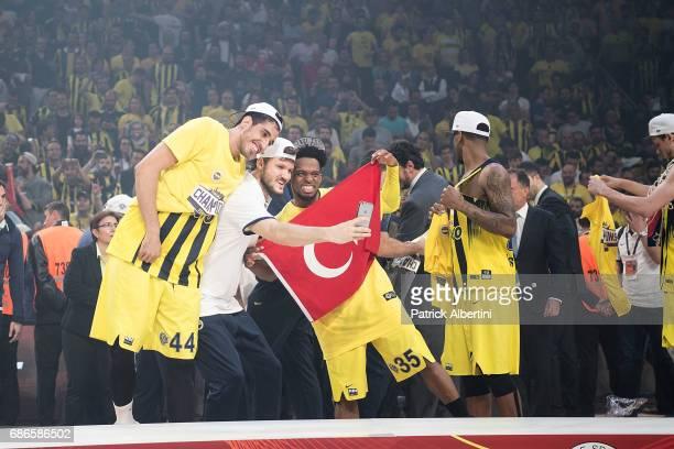 Baris Hersek #5 of Fenerbahce Istanbul Ahmet Duverioglu #44 of Fenerbahce Istanbul Bobby Dixon #35 of Fenerbahce Istanbul during the 2017 Final Four...