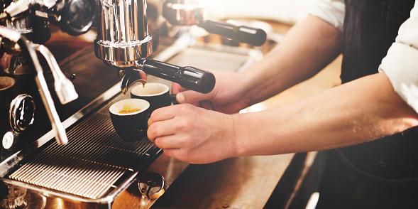 Barista Coffee Maker Machine Grinder Portafilter Concept 519577462