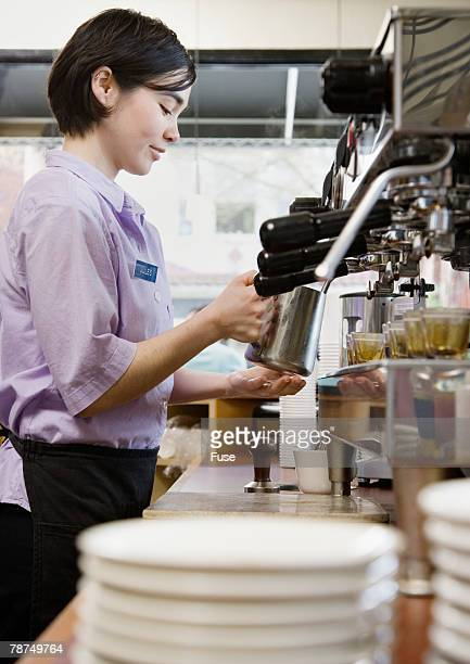 barista making a coffee drink - coffee drink stock pictures, royalty-free photos & images