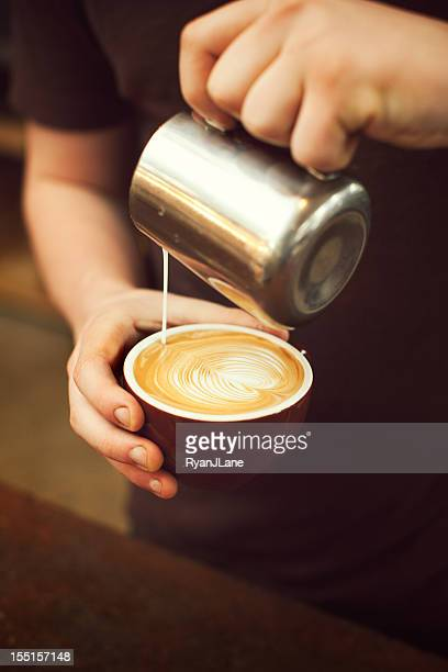 Barista Pouring Froth Art Heart