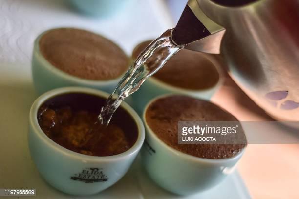 A barista prepares cups of Geisha Natural coffee variety at the Elida farm in Boquete Panama on January 24 2020 Panamanian coffee Elida Geisha...