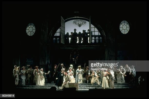 Baritone Dwayne Croft as Count Almaviva w unident soprano baritone Bryn Terfel as Figaro w unident soprano in scene fr Mozart's Le Nozze di Figaro on...