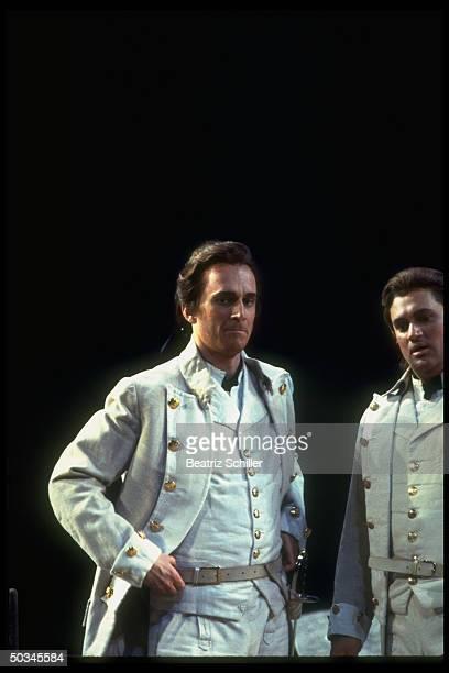Baritone Dwayne Croft as Guglielmo w tenor Paul Groves as Ferrando in Mozart's Cosi Fan Tutte on stage at the Metropolitan Opera