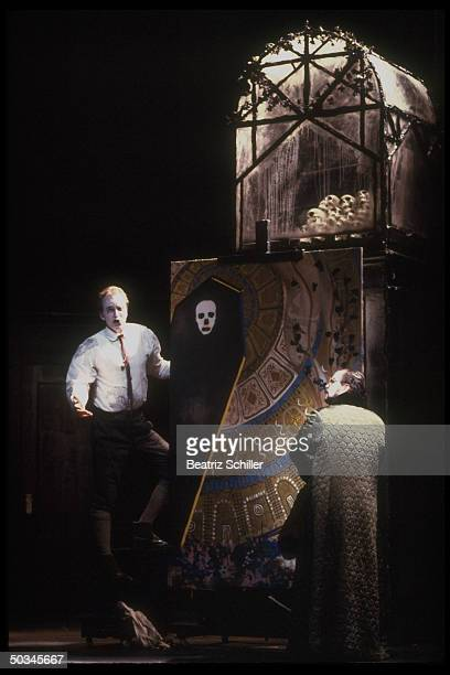 Baritone Dwayne Croft as Roderick w other unident singers in production of The Fall of the House of Usher by Philip Glass Richard Foreman on stage at...