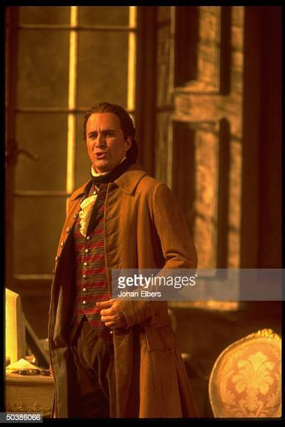 Baritone Dwayne Croft singing in Mozart's Le Nozze di Figaro on stage at the Metropolitan Opera