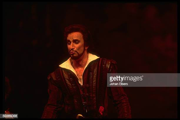 Baritone Dwayne Croft singing the title role in Mozart's Don Giovanni on stage at the Metropolitan Opera