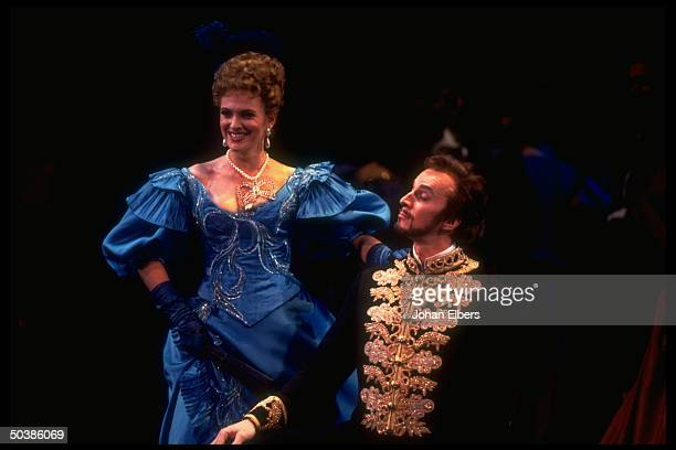 Baritone Dwayne Croft w soprano Ainhoa Arteta in the title role of Giordano's Fedora on stage at the Metropolitan Opera