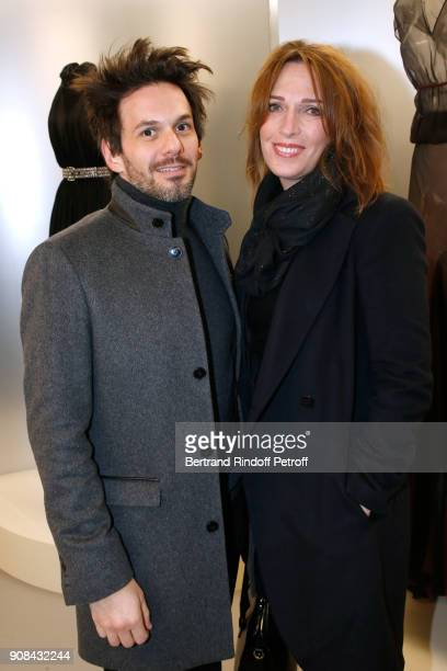 Baritone Laurent Arcaro and Stephanie Jarre attend the Azzedine Alaia Je Suis Couturier Exhibition as part of Paris Fashion Week Held at Azzedine...