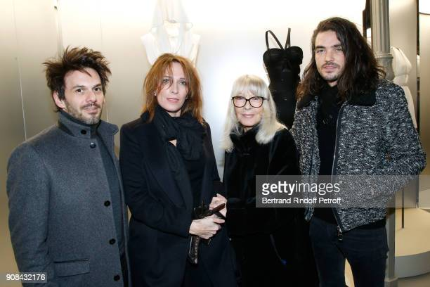 Baritone Laurent Arcaro Stephanie Jarre her mother Dany Saval and guitarist Damien Keyser attend the Azzedine Alaia Je Suis Couturier Exhibition as...