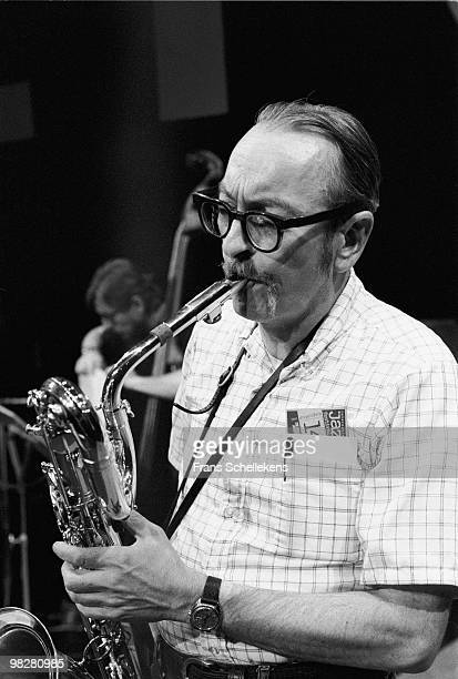 Baritone sax player Pepper Adams performs live on stage in Meervaart, Amsterdam, Netherlands during the NOS Jazz Festival on August 14 1982