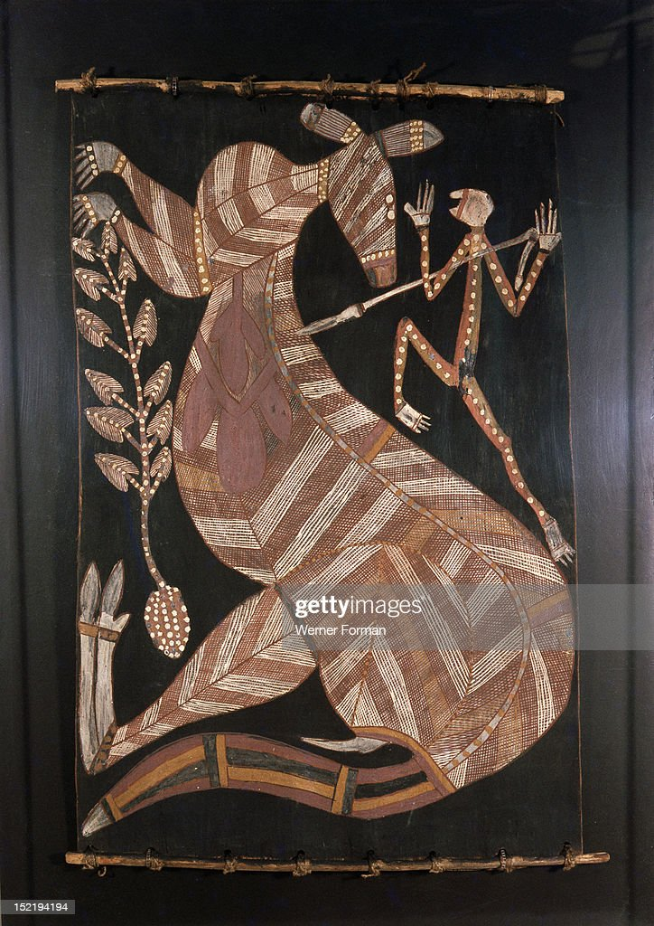 Bark Painting In X Ray Style Depicting A Kangaroo And Hunter
