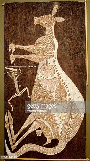 Bark painting in X ray style depicting a kangaroo and a hunter, The specific form of cross hatching served to associate paintings with individual...