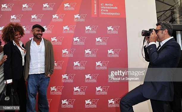 M'barka ben Taleb Raiz and Director John Turturro attends the Passione photocall during the 67th Venice Film Festival at the Palazzo del Casino on...