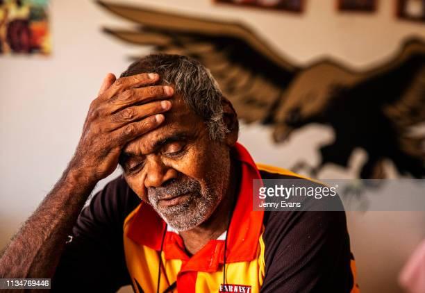 Barkandji elder Cyril Hunter reacts as he talks about the Darling-Barka river on March 05, 2019 in Wilcannia, Australia. The Barkandji people -...