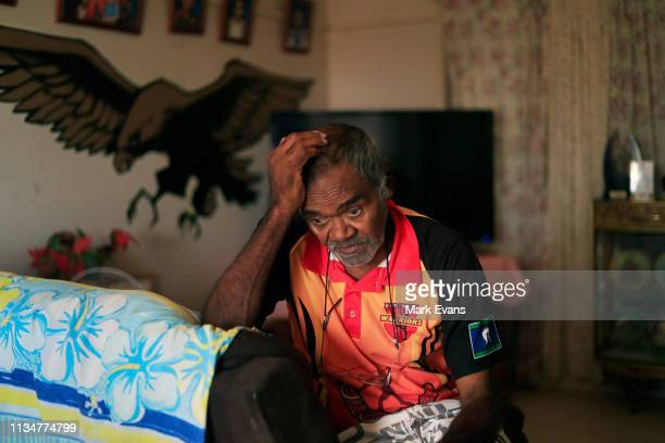 Barkandji elder Cyril Hunter reacts as he talks about the Barka-Darling river on March 04, 2019 in Wilcannia, Australia. The Barkandji people -...