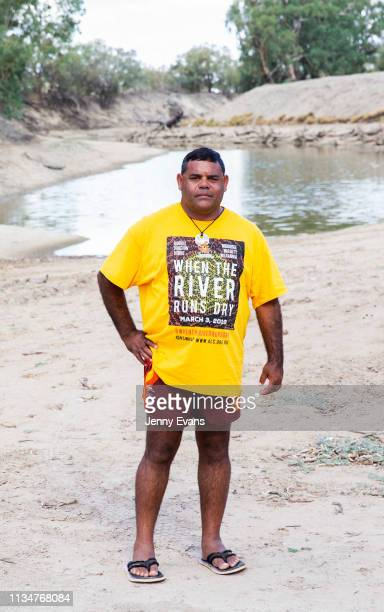 Barkandji man and independent candidate for the seat of Barwon Owen Whyman poses for a portrait on the dry bed of the Darling Barka river on March 04...