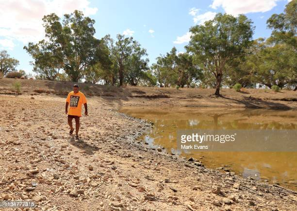 Barkandji man and independent candidate for the seat of Barwon, Owen Whyman walks on the dry bed of the Darling -Barka river on March 04, 2019 in...
