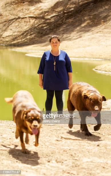 Barkandji person Christine Awege poses for a portrait on the Darling-Barka river bed next to her property on March 06, 2019 in Wilcannia, Australia....