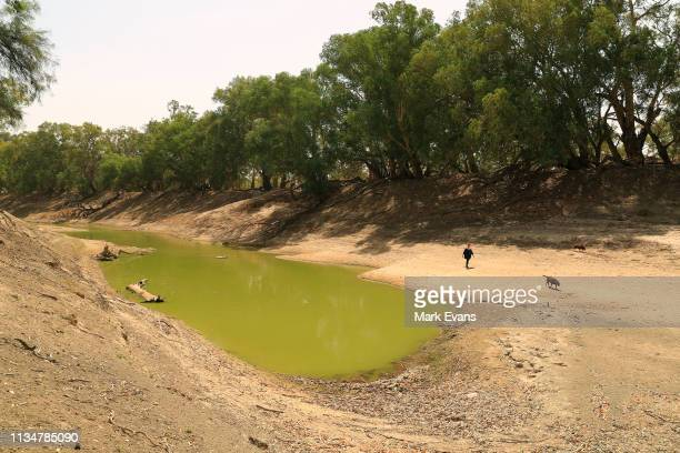Barkandji person Christine Awege walks along the Darling-Barka river bed next to her property on March 06, 2019 in Wilcannia, Australia. The...