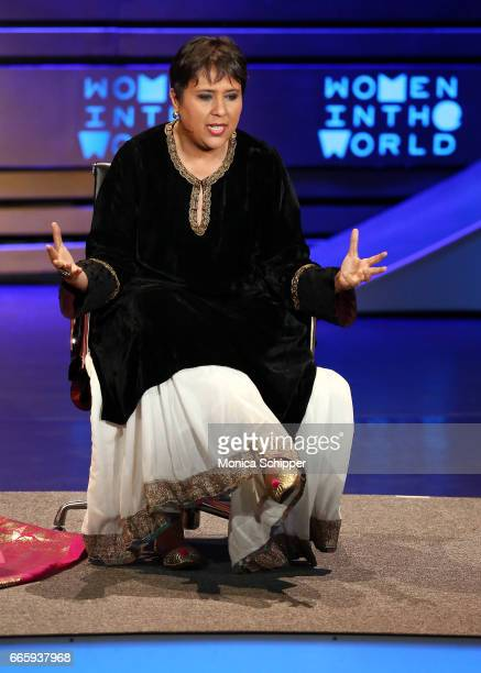 Barkha Dutt speaks on stage at the 8th Annual Women In The World Summit at Lincoln Center for the Performing Arts on April 7 2017 in New York City