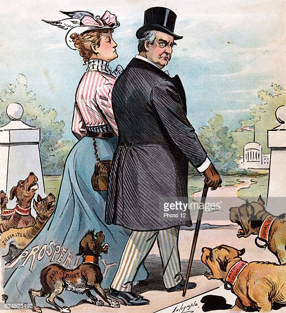 Barking Dogs Never Bite 1900 President McKinley walking onto the White House grounds with a woman labelled 'Prosperity' passing a group of barking...