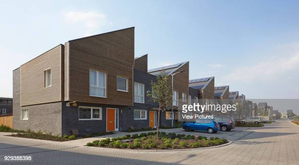 Barking Riverside Housing Development Barking United Kingdom Architect Sheppard Robson 2014 Housing terrace with street in perspective