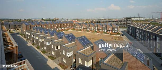 Barking Riverside Housing Development Barking United Kingdom Architect Sheppard Robson 2014 Elevated view of roofscape with solar panels