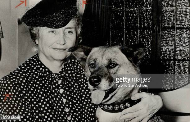 Barkless dog for Helen Keller Helen Keller amous mute and blind lecturer has a new seeing eye She is shown arriving at San Francisco with the Akita...