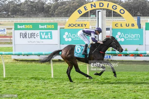 Barmah Al ridden by Logan McNeil wins the Catanach's Jewellers 0 - 58 Handicap at Bendigo Racecourse on June 05, 2021 in Bendigo, Australia.