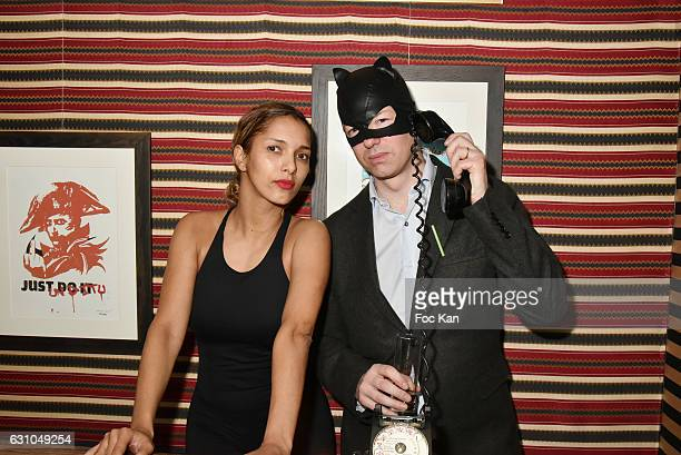 Barmaid Samia Albi Chalbi and Louis de Causans attend the 'Nuit Bruce Nauman' screening party and performance of Amelie Pironneau at la Galerie du...
