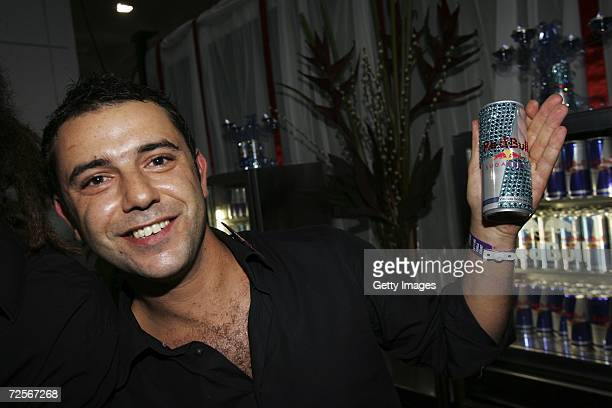 A barman holds up a can of Redbull at the 2006 World Music Awards at Earls Court on November 15 2006 in London